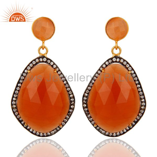 Faceted Peach Moonstone And CZ 24K Yellow Gold Plated Designer Earrings
