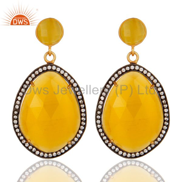 Designer Yellow Moonstone Fashion Gemstone Earrings With CZ in 18K Gold On Brass