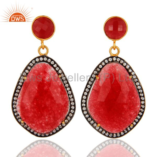 18K Yellow Gold Plated With Impressive Red Aventurine Gemstone Earrings With CZ