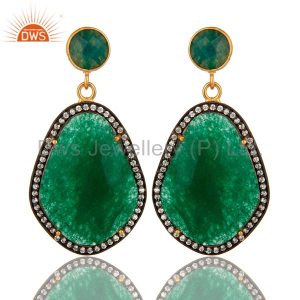 18K Yellow Gold Plated Green Aventurine Prong Set Dangle Earrings With CZ