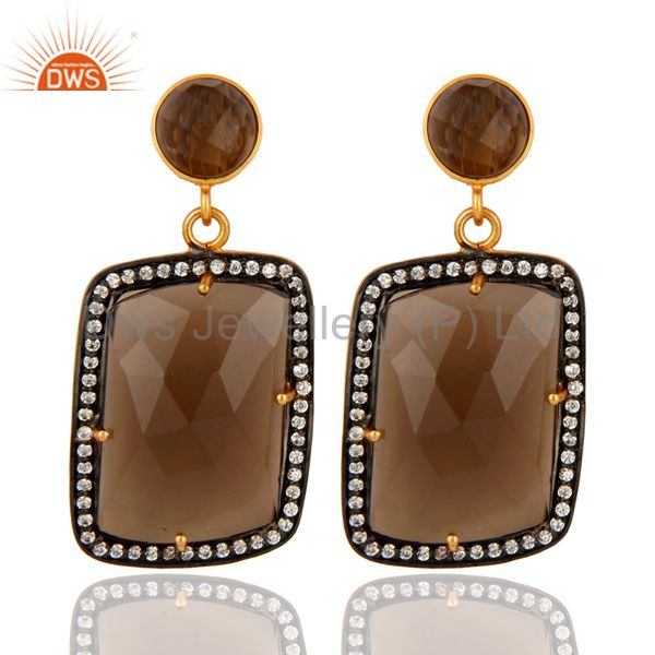 Smoky Quartz Gemstone Designer Earrings With CZ Made In 18K Gold Over Brass