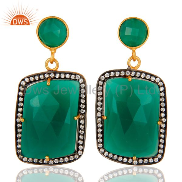 Faceted Green Onyx Gemstone Earrings With CZ In 18K Gold Over Brass Jewelry