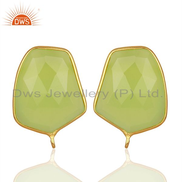 18K Yellow Gold Plated Prehnite Chalcedony Stud Earring Connector Assesories