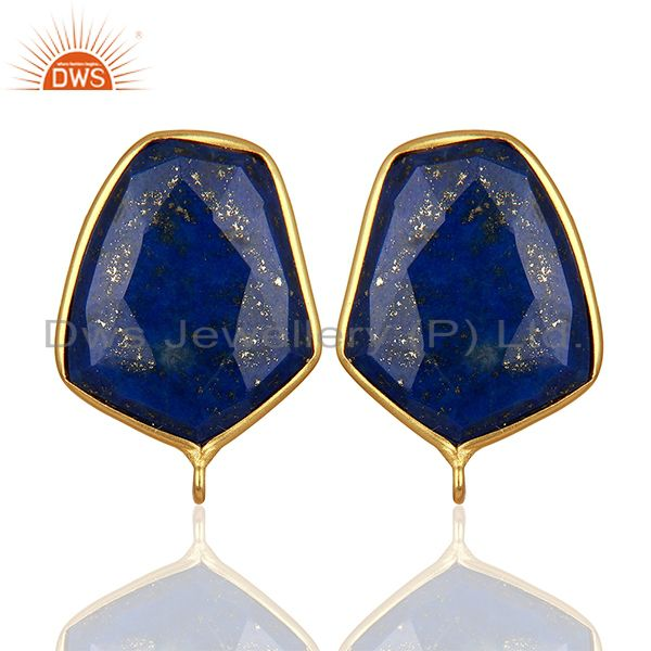 18K Yellow Gold Plated Lapis Lazuli Stud Earring Connector Assesories