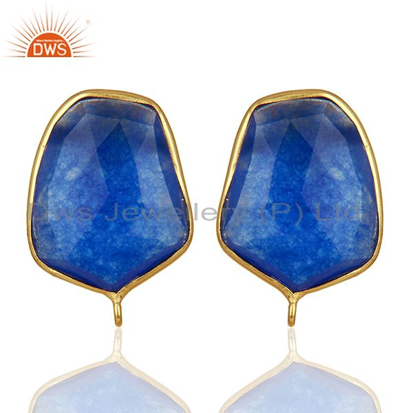 18K Yellow Gold Plated  Blue Aventurine Stud Earring Connector Assesories