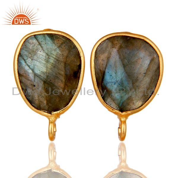 18K Yellow Gold Plated Labradorite Stud Earring Jewelry Assesories Findings