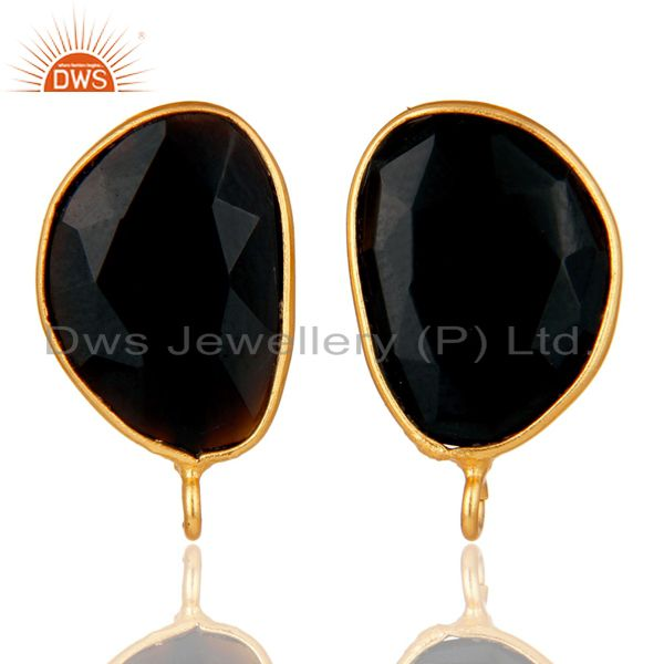18K Yellow Gold Plated Black Onyx Stud Earring Jewelry Assesories Findings