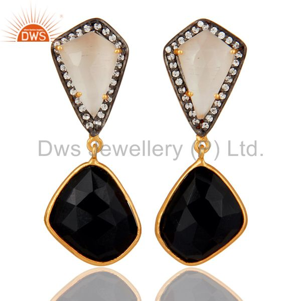 White Moonstone Black Onyx and White CZ 18K Gold Plated Dangler Drop Earring