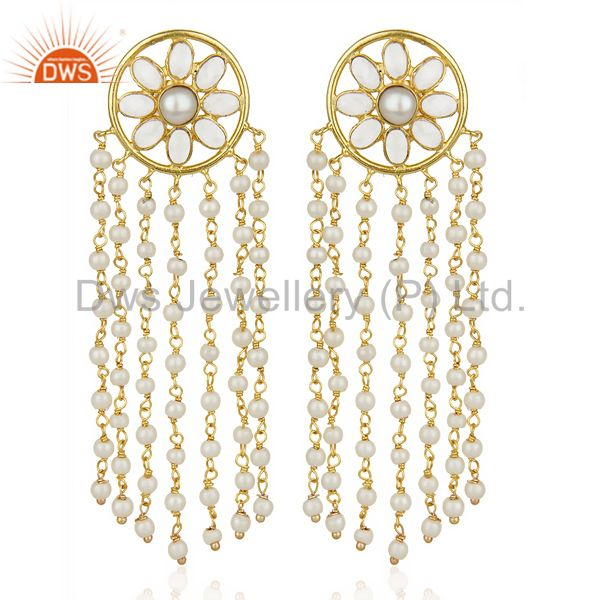 14K Yellow Gold Plated Traditional Handmade Pearl CZ Chandelier Earrings