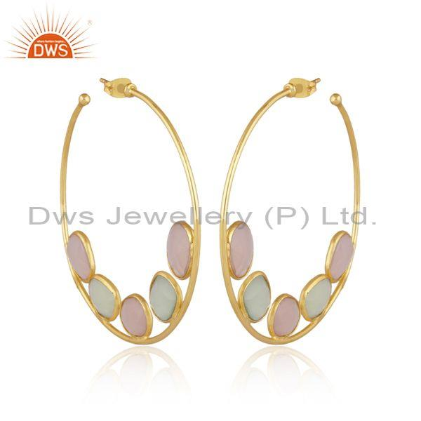 Prehnite and rose chalcedony fancy brass gold round earrings