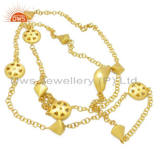 24K Yellow Gold Plated Brass Brushed Finish Link Chain Designer Necklace