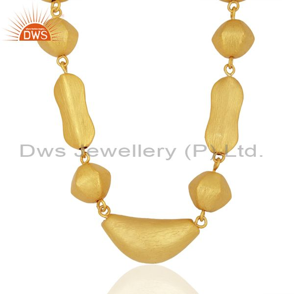 Brushed finish 24k yellow gold plated brass designer statement necklace