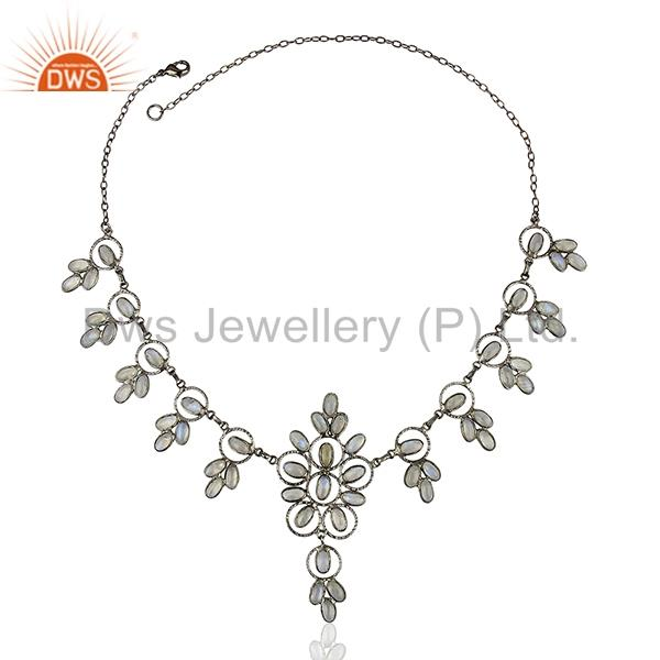 Rhodium Plated Rainbow Moonstone Fashion Necklace Jewelry Manufacturer