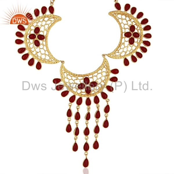 Hydro Pink Gemstone Gold Plated Designer Fashion Necklace Jewelry
