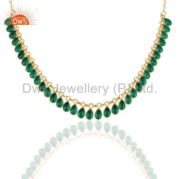 14k Gold Plated Traditional Handmade Hydro Green Fashion Necklace Jewelry