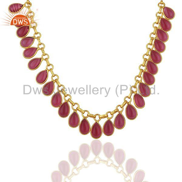 Pink Gemstone Handmade Gold Plated Brass Fashion Necklace Manufacturer
