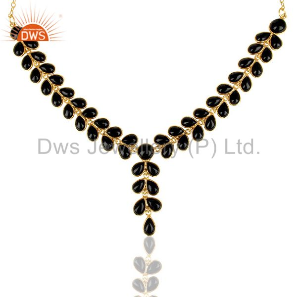Black Onyx Bezel Set 14K Yellow Gold Plated Chain Necklace Brass Jewelry