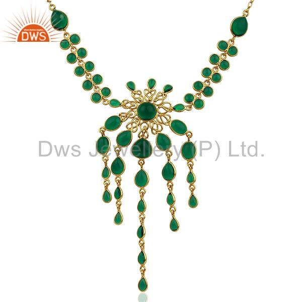 Hydro Emerald Gemstone Brass Fashion Necklace Designer Jewelry