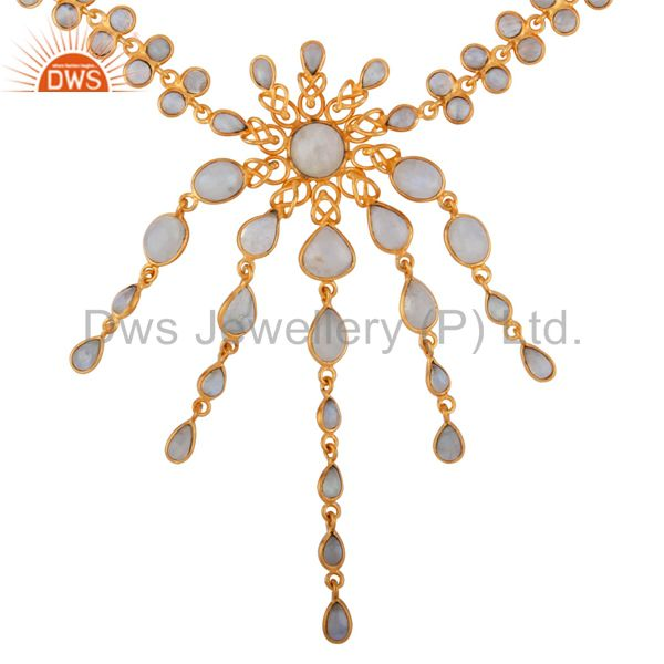 Natural Rainbow Moonstone 18K Gold Plated Handmade Chandelier Stylish Necklace