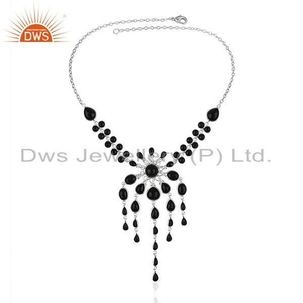 Black Onyx Gemstone Silver Plated Brass Fashion Necklace Manufacturer