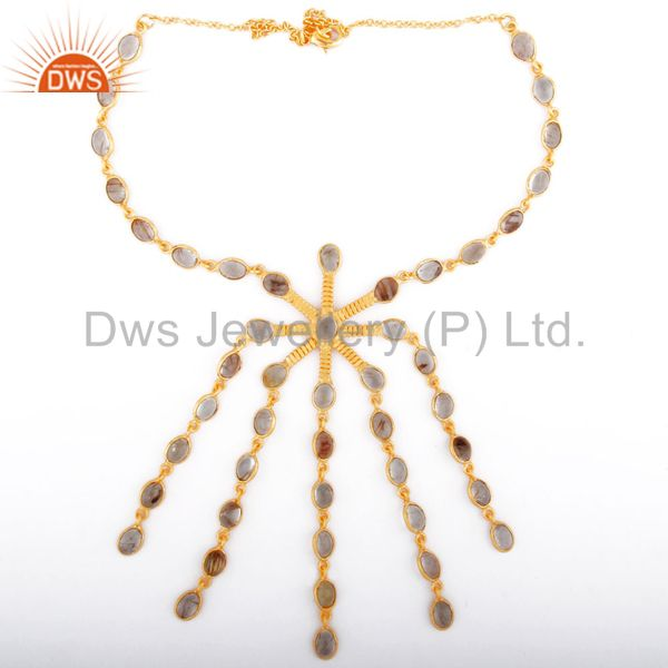Fabulous Golden Rutilated Quartz Gemstone 18k Gold Plated Chandelier Necklace