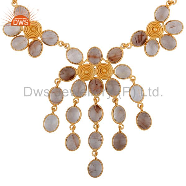 18k yellow gold plated wire wrapped spiral rutilated quartz necklace
