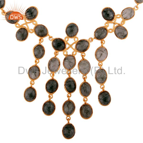 Natural Tourmalinated Quartz Semi Precious Stone 18K Gold Plated Necklace