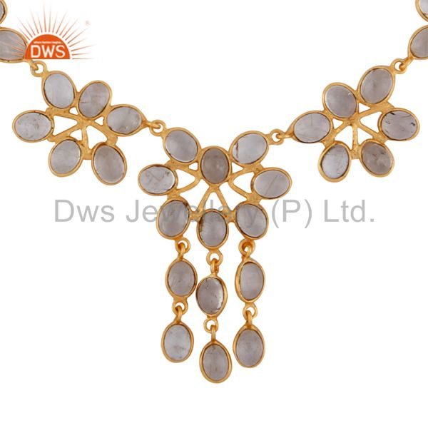 Beautiful Designer Gemstone Rutilated Quartz Studded 18K Gold  GP Necklace