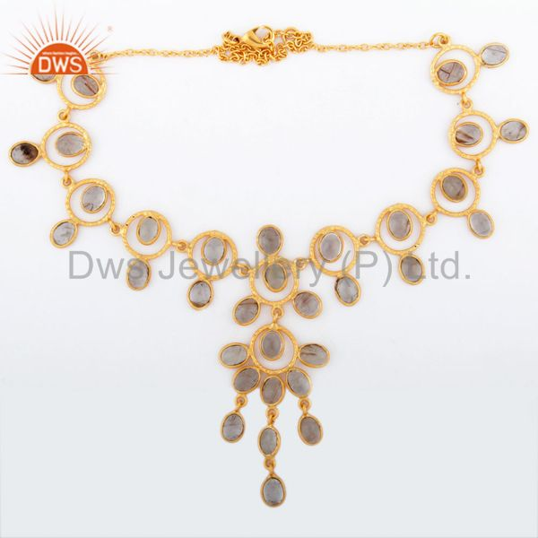 Indian Solid Hand Hammered 18K Gold GP Rutilated Quartz Necklace Jewellery