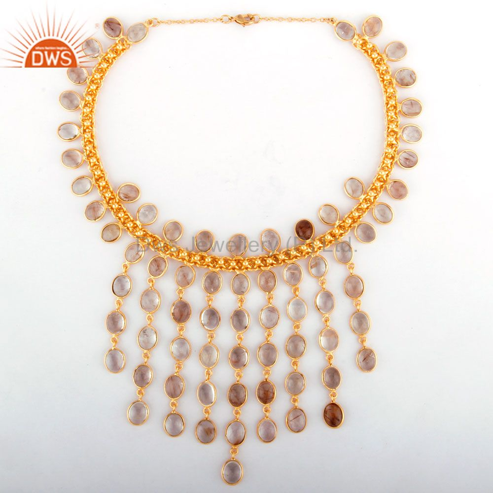 Natural Rutilated Quartz Gemstone Drop Necklace in 18K Yellow Gold Plated