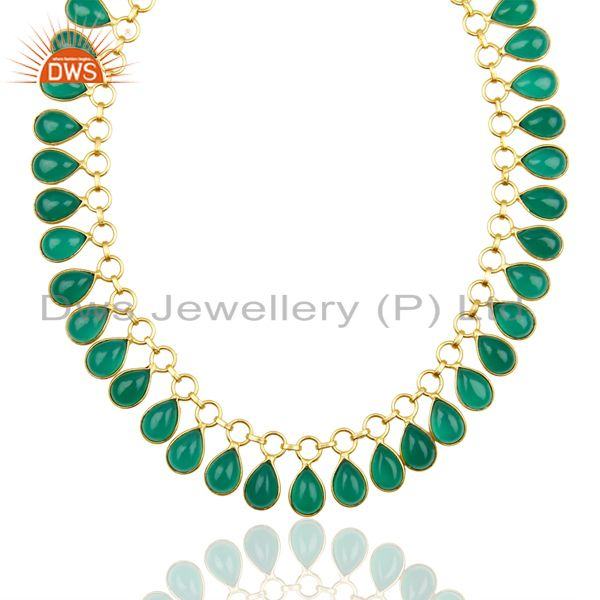 full Neck Pattern Green Onyx Gemstone 14K Gold Plated Fashion Wholesale Necklace