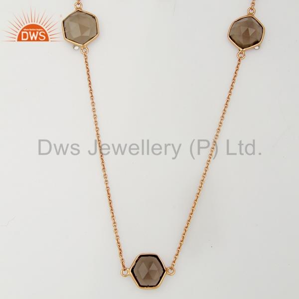 Smoky Topaz Bezel Set Rose Gold Plated Brass Fashion Jewellery Long Necklace
