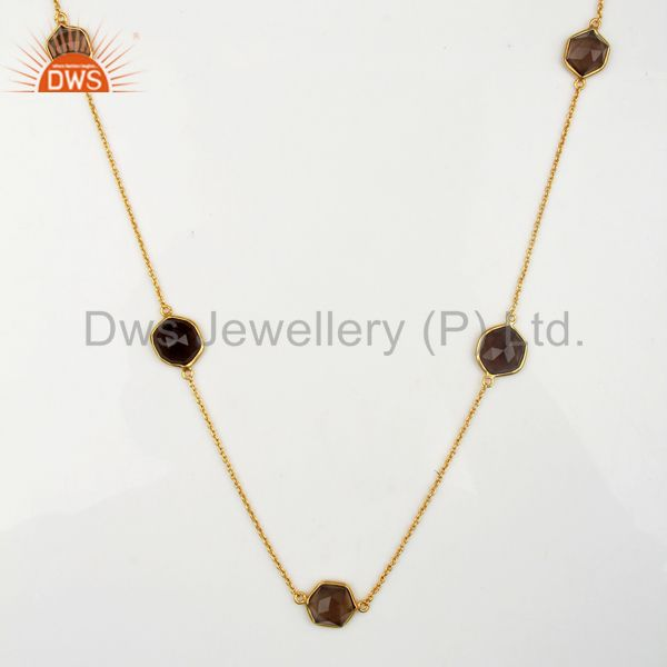Smoky Topaz Bezel Set 18k Gold Plated Brass Fashion Jewellery Statement Necklace