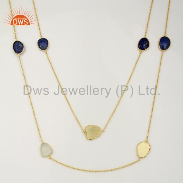 Multi gemstone bezel set 18k gold plated brass jewellery statement necklace