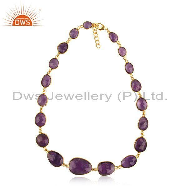 Amethyst Gemstone Gold Plated Brass Fashion Handmade Necklace Wholesale