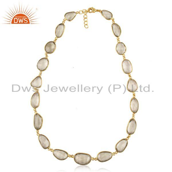 Green Amehyst Gemstone Gold Plated Brass Fashion Necklace Manufacturer India