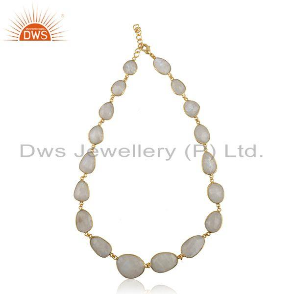 Rainbow Moonstone Brass Fashion Gold Plated Necklace Manufacturer India