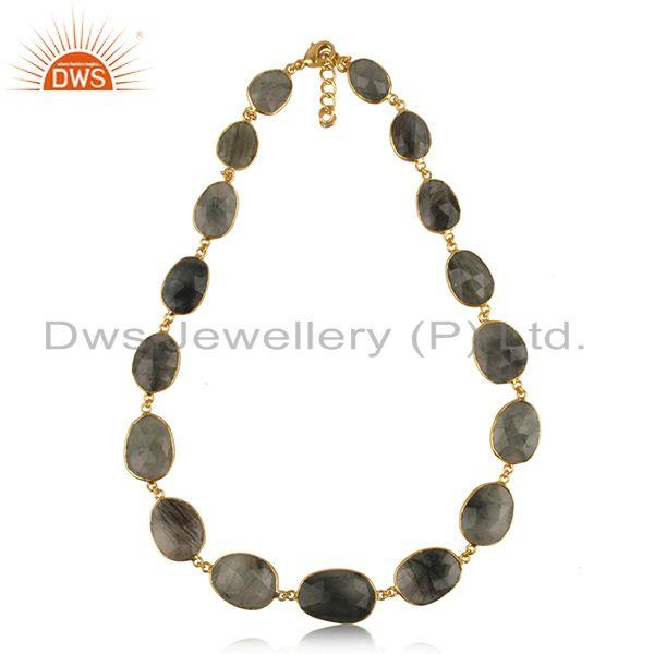 Multi rutile gemstone gold plated brass fashion necklace manufacturer jaipur