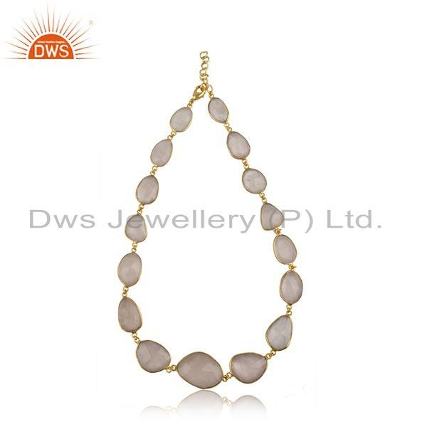 Rose quartz gemstone gold plated brass fashion necklace wholesaler jaipur