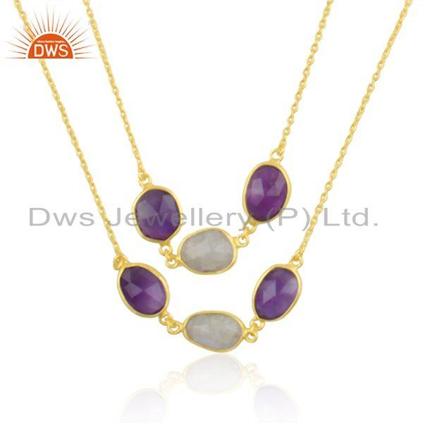 Gold Plated Brass Fashion Multi Gemstone Designer Chain Necklace Wholesale