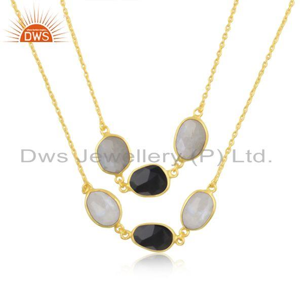 Multi Gemstone Gold plated Brass Fashion Designer Chain Neckalce Wholesaler
