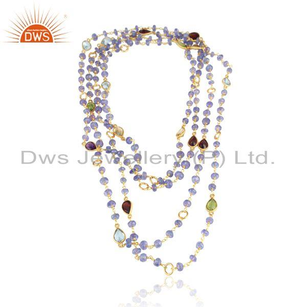 Multi Gemstone Fashion Gold on Multilayered Statement Necklace
