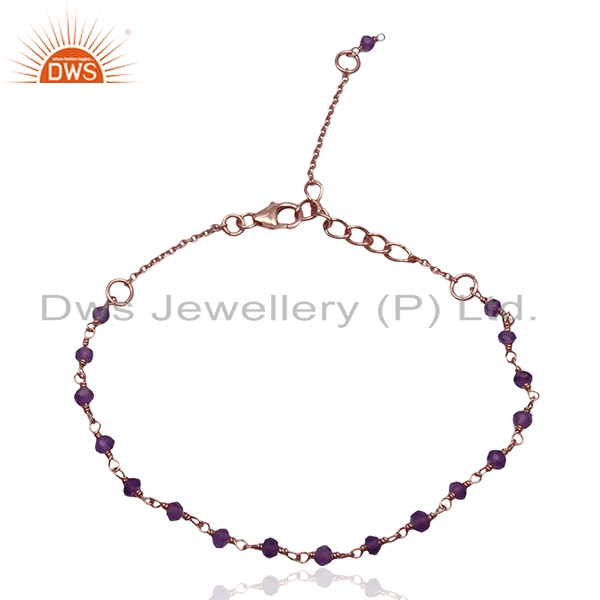 Beaded Amethyst Gemstone Rose Gold Plated 925 Silver Bracelet For Girls Jewelry