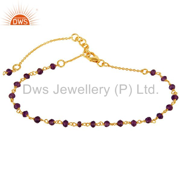 18k yellow gold plated sterling silver amethyst beaded chain bracelet