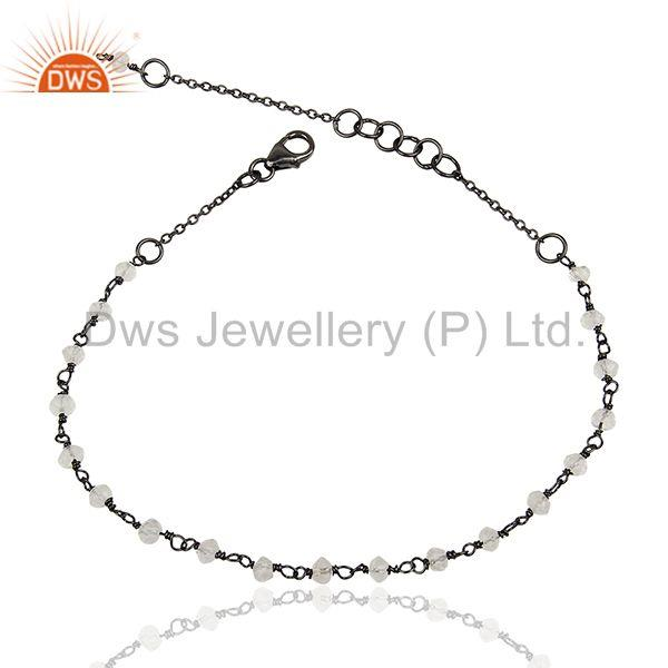 Beaded Crystal Quartz Black Solid 925 Silver Chain Bracelet Jewelry