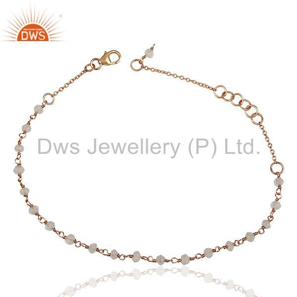 Rose Gold Plated 925 Silver Beaded Crystal Gemstone Bracelet Jewelry
