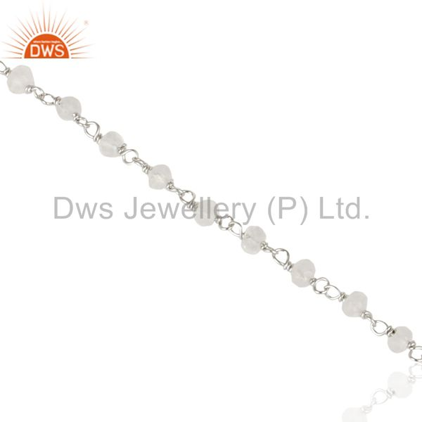 18k yellow gold plated 925 sterling silver crystal quartz beaded chain bracelet