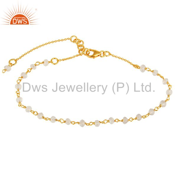 18K Yellow Gold Plated Sterling Silver Crystal Quartz Beaded Chain Bracelet
