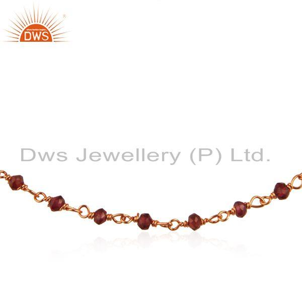 Garnet Gemstone Rose Gold Plated 925 Silver Beaded Bracelet Wholesale