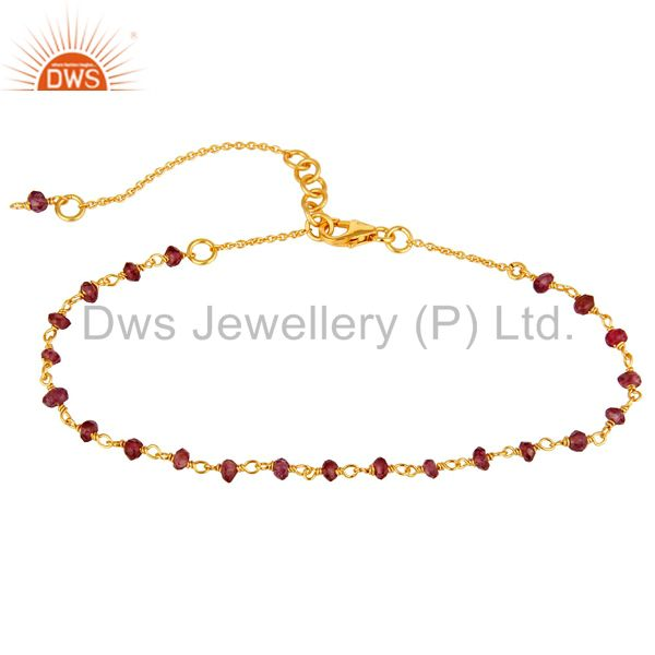 18K Gold Plated Sterling Silver Natural Garnet Gemstone Beaded Bracelet